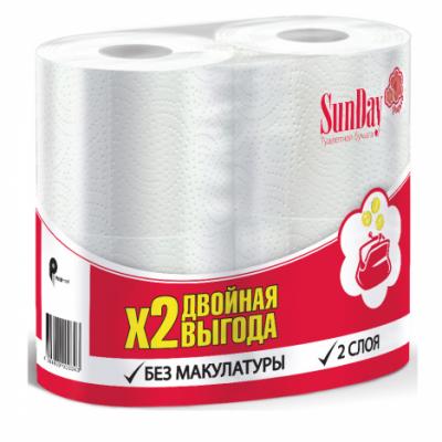 Бумага туалетная SunDay 2-х сл. 4 штуки/упак.